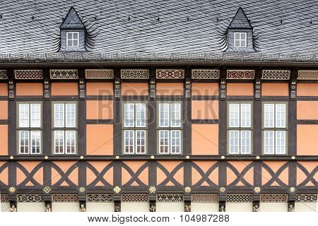 Facade of a historic half-timbered house