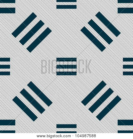 Align Text To The Width Icon Sign. Seamless Pattern With Geometric Texture. Vector