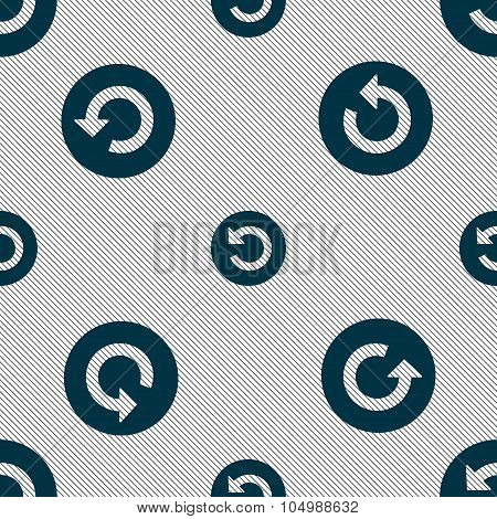 Upgrade, Arrow Icon Sign. Seamless Pattern With Geometric Texture. Vector