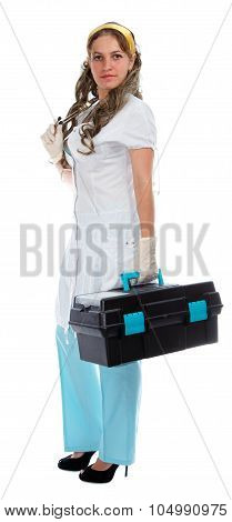 Young Beautiful Doctor With First Aid Box
