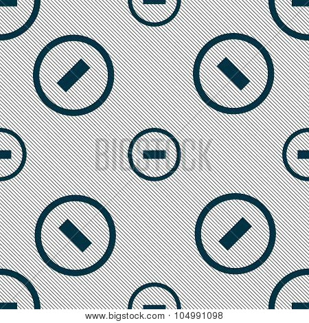 Minus Sign Icon. Negative Symbol. Zoom Out. Seamless Pattern With Geometric Texture. Vector