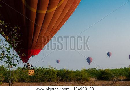Hot Air Balloon Landing In Bagan Myanmar