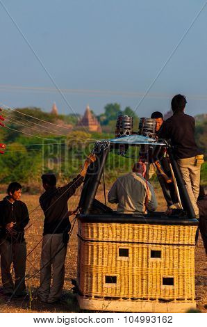 Hot Air Balloon Crew Working In Basket