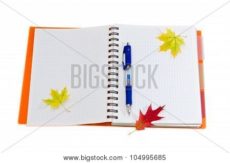 Notebook, Pen And A Few Autumn Leaves