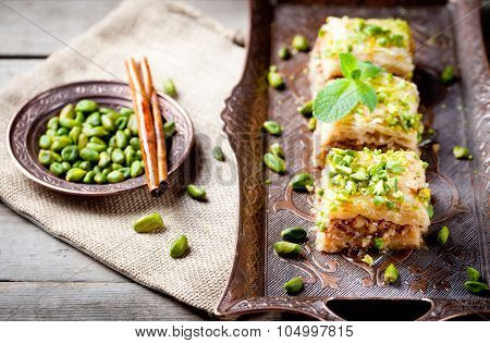 Turkish nut and phyllo pastry dessert, baklava