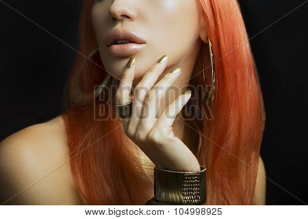 Redhead Women With Golden Make-up, Hands With Golden Manicure. Makeup, Beauty.