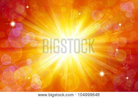 Bright explosion. Circles and stars on yellow and orange background