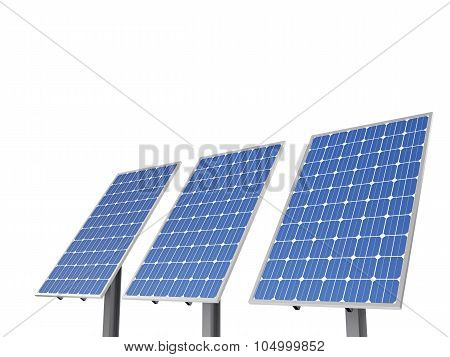 A Set Of Environment Solar Panel Poles, Isolated White Background.
