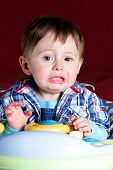pic of pouty lips  - Portrait of child, Crying one year old baby boy - JPG