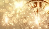 2016 New Year shining background with clock. Vector illustration. poster