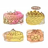 Постер, плакат: Vector Cake Illustration Set Of 4 Hand Drawn Cakes With Colorful Watercolor Splashes Cakes With Cr