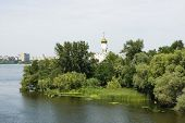 picture of dnepropetrovsk  - Church on the island the Dnieper River Dnepropetrovsk Ukraine - JPG