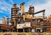 image of blast-furnace  - Panorama of blast furnace and other industrial equipment at the metallurgical plant - JPG