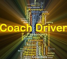 image of designated driver  - Background concept wordcloud illustration of coach driver glowing light - JPG