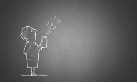 pic of caricatures  - Caricature of funny woman with mobile phone in hand - JPG