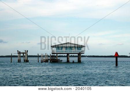 Blue Stilt House In Stiltsville Located In Miami, Florida
