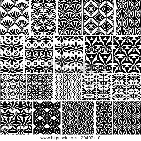 Set of monochrome patterns.