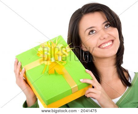 Happy Girl With A Gift