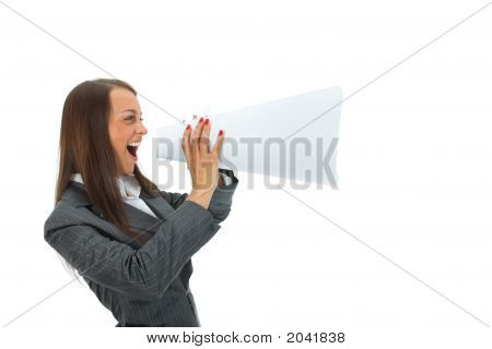 Business Woman Yells In Megaphone