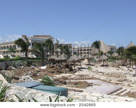 Beach Scene After Hurricane Dean