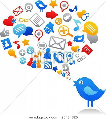 Blue bird met social media iconen