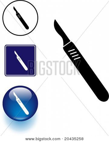 scalpel knife symbol sign and button