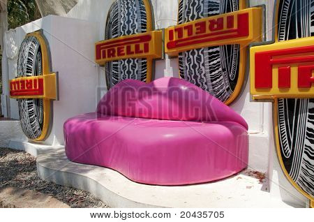CADAQUES, SPAIN - JULY 4: Mae West Lips Sofa in House-Museum Salvador Dali on July 4, 2010 in Cadaques, Spain. House-museum was Salvador Dali's only fixed abode from 1930 till 1982.