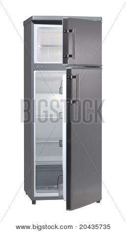Two door INOX refrigerator isolated on white