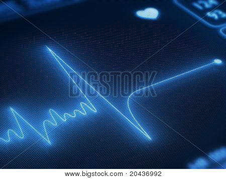 Flat line on a heart monitor - 3d render on detail pixelated screen