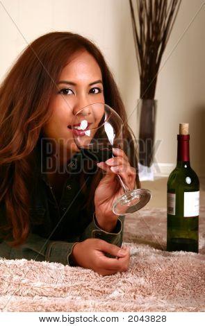 Beautiful Model Drinking Wine On Bed 2