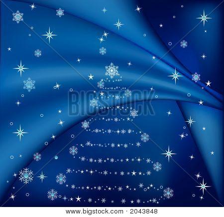 Blue Christmas Tree, Vector Illustration