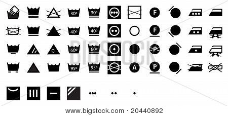 Complete set of internation laundry symbols - dark