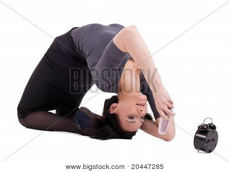 business woman lay in yoga pose talk on cell
