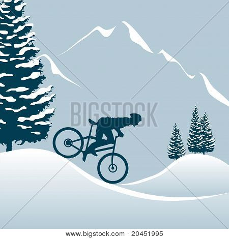 biker in the snowy mountains