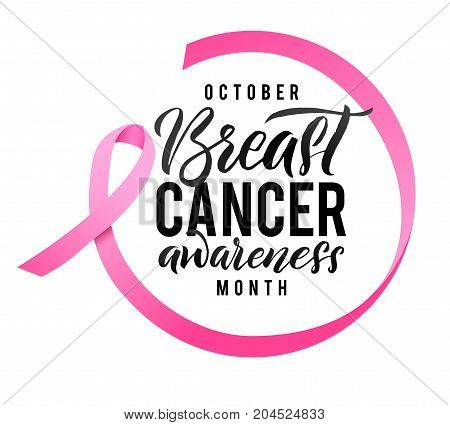 Breast Cancer Awareness Calligraphy Poster Design Ribbon Around