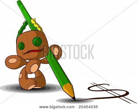 Rag Doll With A Pencil