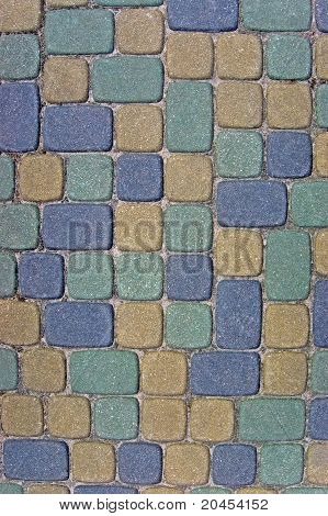 Cobblestone Texture Background Closeup In Colorful Green, Yellow, Blue, Tan, Grey, Gray, Beige Ashla
