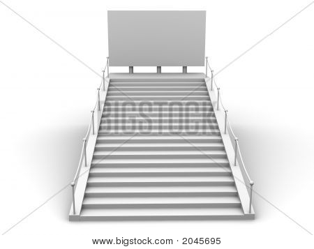 Stairs And Bigboard. 3D