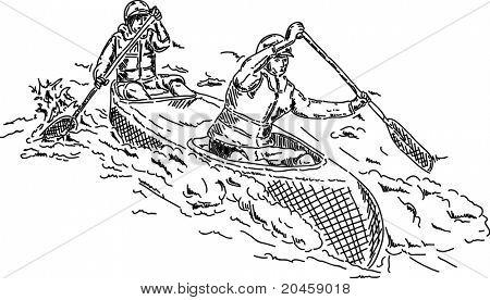 vector - canoagem remo através de água branca