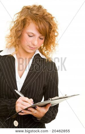 Woman Using Clipboard