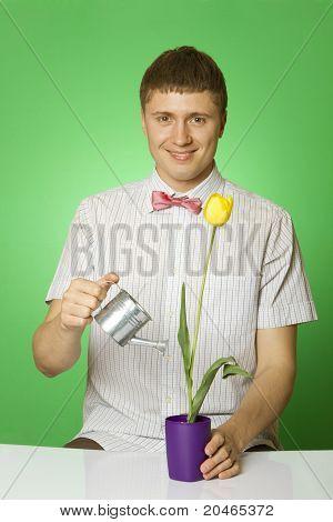 "Parody lover man ""nerd"" watering tulip"