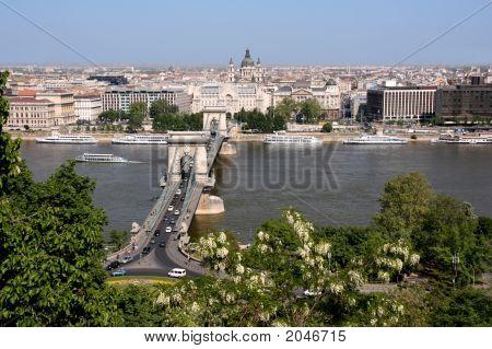 Danube, Chain Bridge And Budapest View