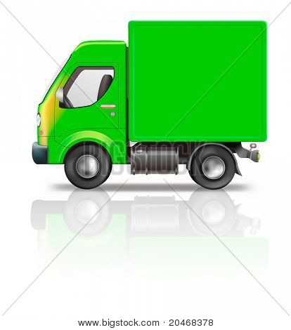delivery truck illustration of green truck isolated on white with empty copy space on side concept for moving relocation shipping freight transport or logistics side view