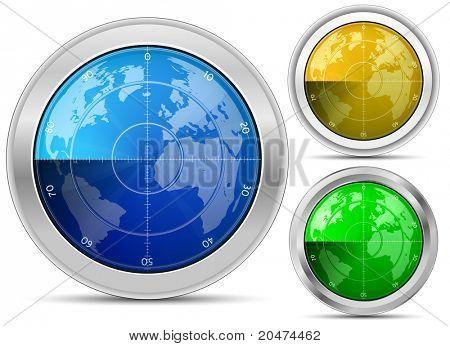 Radar. Oscilloscope monitor with a world map