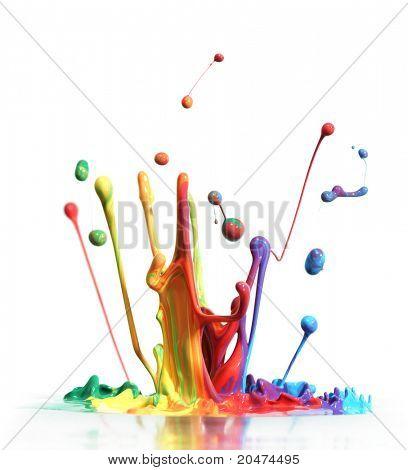 Colorful paint splashing isolated on white