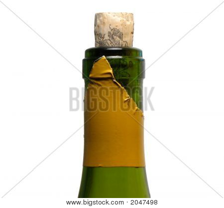Closeup Of Wine Bottle, Opened And Recorked
