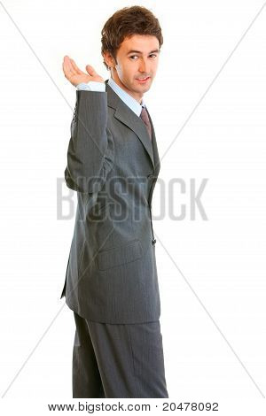 Frustrated modern businessman isolated on white background