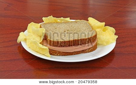 Bologna And Cheese Sandwich On White Plate With Chips