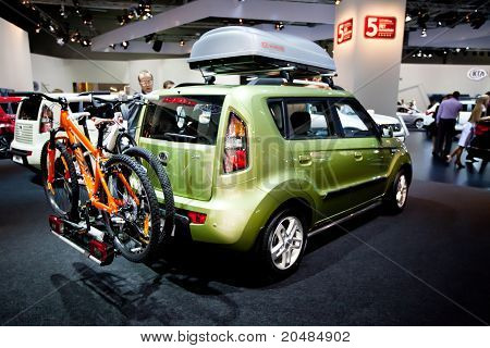 Moscow, Russia - August 25:  Green Car Kia Soul At Moscow International Exhibition Interauto On Augu