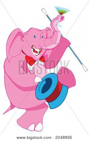 Pink Drunk Elephant With A Top Hat Dancing, Original Illustration